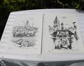 Croatia Black Ink Drawing Prints -Sutivan and Trogir Ulaz u grad 13 x 10 Black and White Prints