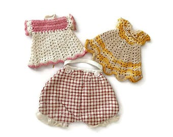 Vintage Pot Holders Dress Bloomers Crochet Retro Kitchen Cottage Chic Decor 1930s 1940s