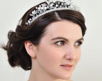 Prom tiara wedding Queen crown Fancy Bridal headband thin White hair piece Fairy Custom color hair accessories crystal hair piece rhinestone