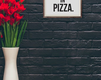 Funny quote print, black and white poster, modern minimal art print, print at home, Pizza sayings, No we in pizza | IThinkYouInk