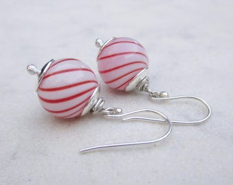 Hollow glass bubble earrings, candy cane blown glass dangle earrings, sterling silver lampwork sphere earrings in white with red swirls