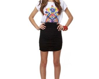 Mini Skirt Black Womens Fitted Skirt  Body Con Ruche Side