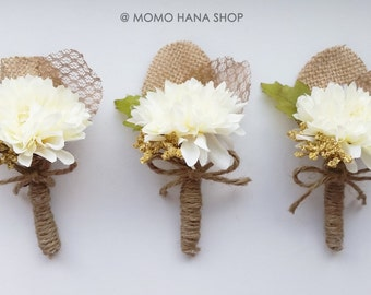 Boutonniere . White Dahlia Silk Flower . Rustic . Woodland . Whimsical . Groom . Groomsmen . Wedding