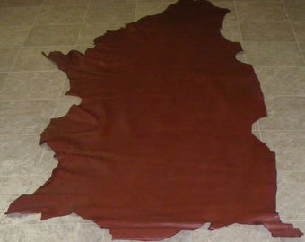 EEA8124-8) Side of Red Brown Cow Leather Skin