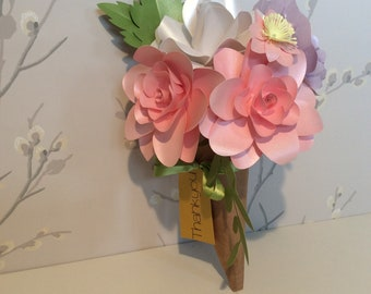 Pretty Pastel Paper Flower Bouquet Thank you Gift