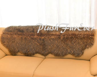 Exotic Couch Back Covers Decors Faux Fur OVERLAY COVERS Sofa Handmade USA  Plush Fur Luxury Living