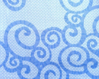 Organic Cotton Fabric - Sateen - Silent Stumps Blue from Harmony Art - Remnant