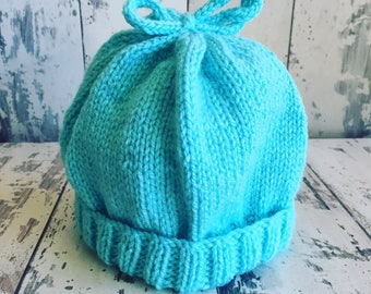 Knitted Baby Hat, Turquoise Baby Hat, Winter Baby Hat, Autumn Baby Hat, Cute Baby Gift, Baby's Hat, Aran Baby Hat, 0-3 Mnths Hat, Yellow Hat