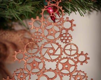Steampunk Gear Christmas Tree Laser Cut Wood Ornament