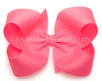"Hot Pink Hair Bow,  6"" Grosgrain Bow for Girls, Extra Large Bow for Women, Teens, Bright Pink 6 inch Bow for Toddlers, Giant Bow for Girls"