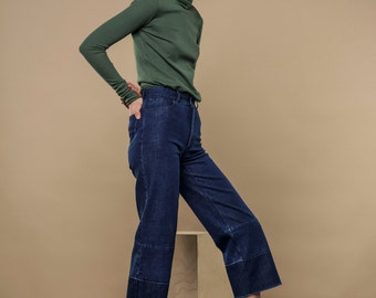 HIGH WAIST jeans - blue jeans, cropped jeans featuring latest trend on classic blue denim and crop