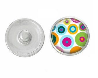 Mod Dots Snap - Compatible with Studio66 LLC -  Gingersnaps - Magnolia and Vine - Noosa 18-20mm Base - Handpressed Snaps