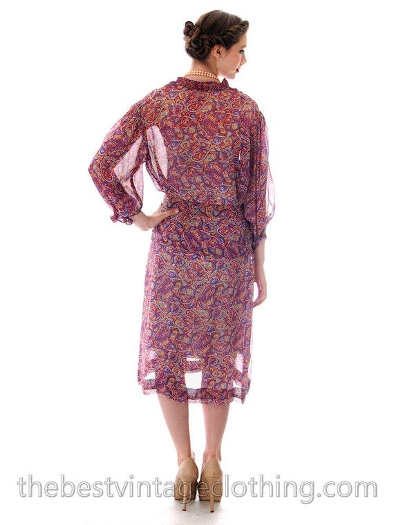 Amazing Large Chiffon Day Colorful Silk Vintage Print Womens Filmstrip Sheer Dress 1930s Oqw4qU7YT