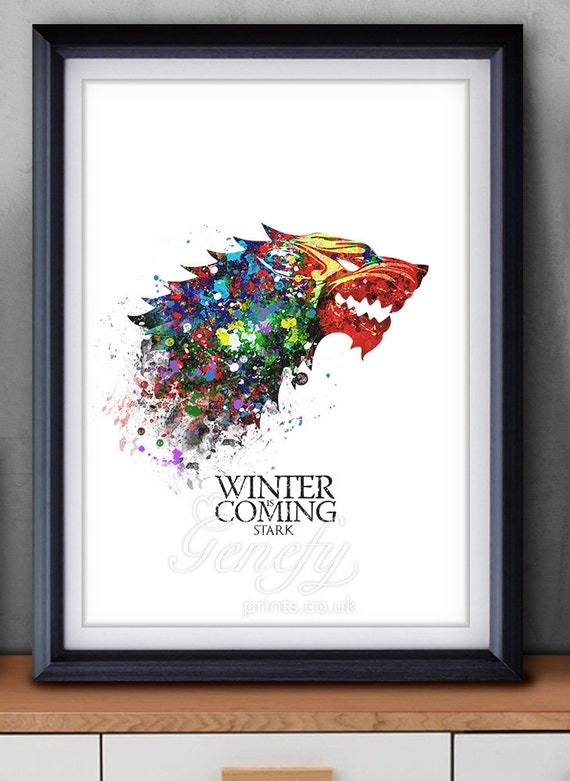 Game of Thrones House Stark Watercolor Art Poster Print Game