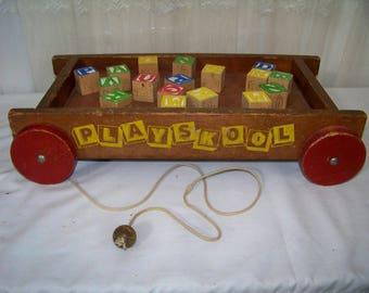 Vintage Playskool Wood Wagon with Pull Cord