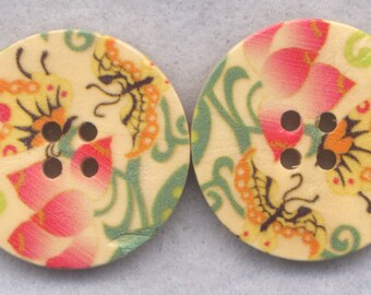Butterfly Flower Buttons Decorated Wooden Buttons 30mm (1 1/4 inch) Set of 4 /BT372