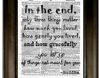 Buddha Quote Art Print 8 x 10 Dictionary Page - Affirmation - Inspirational Quote - Motivation - Word Art Buddhist Zen Letting Go