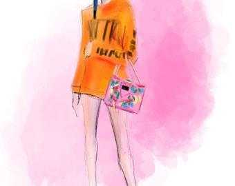 Street Style no. 09  Art Print Fashion Illustration, Fashion Sketch, Fashion Art, Watercolour Illustration