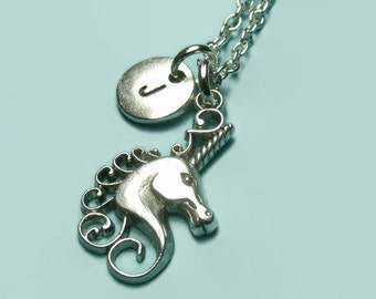 Unicorn charm necklace, personalised initial necklace, children's necklace, custom charm necklace, gift, fairytale, mystical, magnical