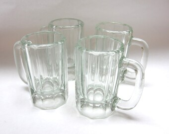 Beer Mugs Drinking Heavy Tankards Clear Steins Set Of Four Handled Glasses