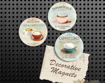 "Cappuccino Magnets, Cafe Gift Set, 1.5"" Fridge Magnet, Set of 3 Handmade Wood Refrigerator Magnets, Kitchen Decor, Coffee, Housewarming Gift"