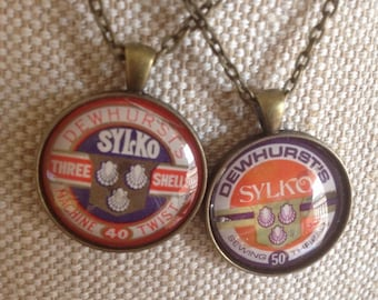 Genuine vintage Dewhursts Sylko cotton reel spool label pendant and chain - choose one / great sewing gift
