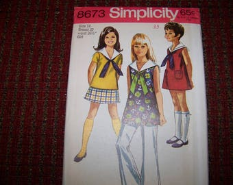 SIMPLICITY 8673 girls pattern size 14 UNCUT