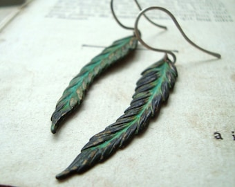 Feather Earrings - Green Patina. Long Dangles Boho Chic Bohemian Hippie Statement Earrings Coachella Sterling Silver Brass Jewelry