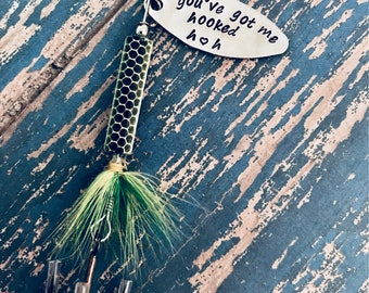 TODAY show feature You've Got Me Hooked Fishing Lure Hand Stamped with Initial Option - Boyfriend Gift - Engagement - Wedding - Valentine's