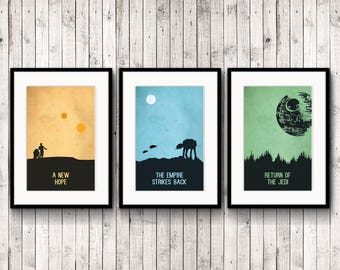 3 Poster Inspirational, star wars inspired, printable decor, poster digital, typography quote, minimalist, scandinavian, anniversary gift
