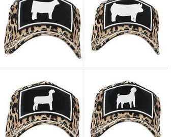 Cheetah Print Hat with Steer, Pig, Lamb or Goat Silhouette