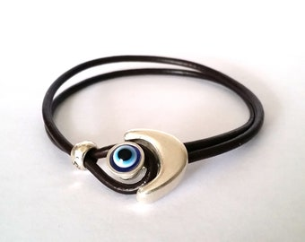 leather bracelet, Turkish eye, bracelet, mens leather bracelet, women bracelet, Silver plated, Brown bracelet, hook clasp