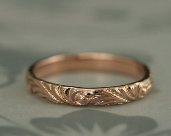 Rose Gold Band--Women's Wedding Band--Florence Flourish Patterned Ring--Vintage Style Ring--Swirl Patterned Band--Elegant Anniversary Ring