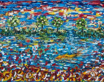 Abstract painting 'Make a wish', original oil painting, abstract art, canvas 60x100cm, palette knife