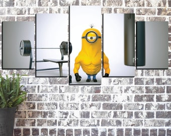 Kids Canvas Wall Art, Minions Canvas Print, Workout Canvas Print, Despicable Me Poster, Gifts, Room Decor, 5 Panel Canvas Art, Art Print
