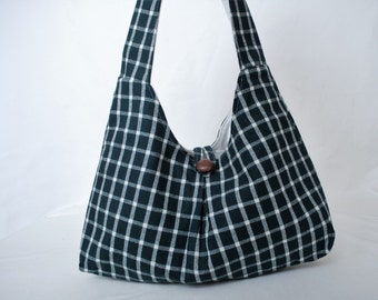 Free Shipping Wool Plaid Hobo Style Purse In Forrest Green and White Fabric