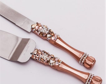 wedding cake server set/ wedding rose gold accessories/ Wedding cake cutting/ Cake serving set/ Cake server set/ Wedding Cake Knife