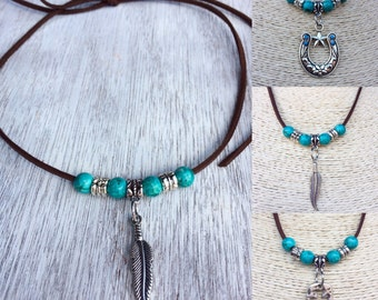 Boho country suede cord necklace can be tied to any length or tied around for double layered look. Choose your charm/pendant.