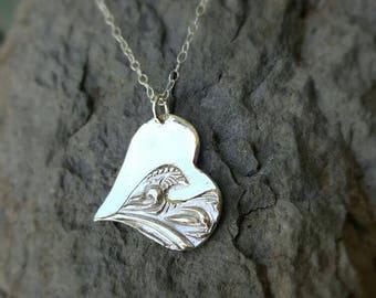Wave Heart Pendant handmade in Sterling Silver
