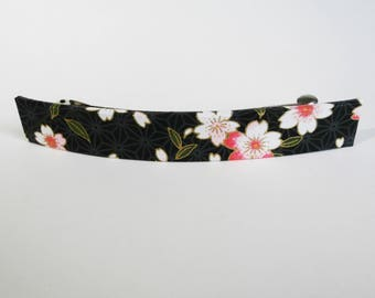 Cherry Blossoms French Barrette, Long Hair Clip, Large Chiyogami Barrette, Black