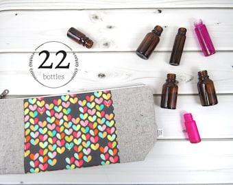 Large Essential Oil Case - Love Bug - 22 bottles - cosmetic bag zipper pouch essential oil bag clutch