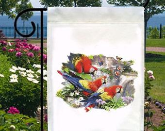 Tropical Amazon Parrots New Small Garden Yard Flag, Home Decor