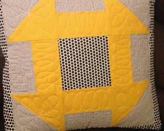 "Yellow and grey handmade cushion cover 18""x18""."