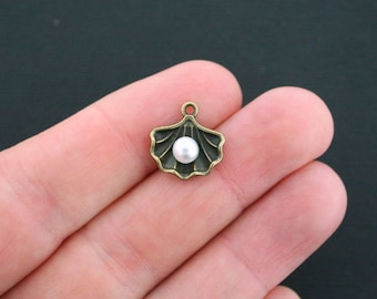 4 Shell Charms Antique Bronze Tone 2 Sided with Pearl - BC634