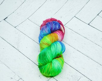 Rainbow Love- Hand Dyed Superwash Sock Yarn