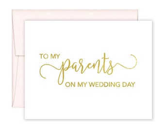 To My Parents on my Wedding Day Cards - Wedding Card - Day of Wedding Cards - Parents Wedding Card - Parents Wedding Day Card (CH-QN5)