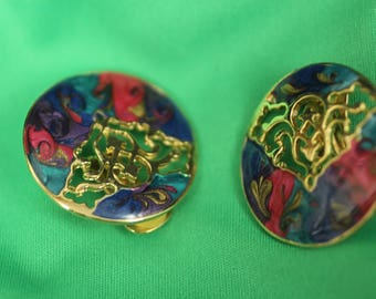 Retro Multi-Color Clip on Earrings