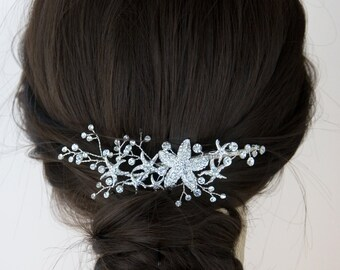 Beach Wedding Hairpiece Headpiece Rhinestone Starfish Bridal Clip Silver Wedding Bride