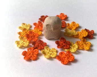"""Small yellow flowers set of 20 Crochet flower 0.5"""" Miniature yellow flower Choose your color  Crochet embellishments"""