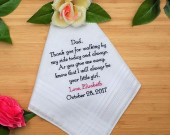 Father of the Bride Handkerchief. Father of the Bride Gift. Thank you for walking by my side today.  Handkerchief Gift for Dad.
